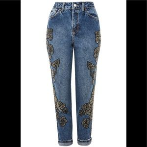 Topshop beaded Moto MOM denim jeans 28 d 30